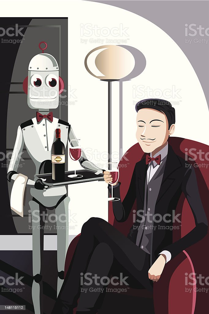 Man and robot vector art illustration