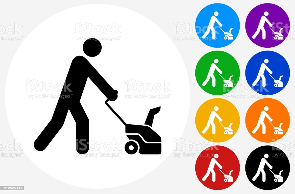 Man and Snowblower Icon on Flat Color Circle Buttons vector art illustration