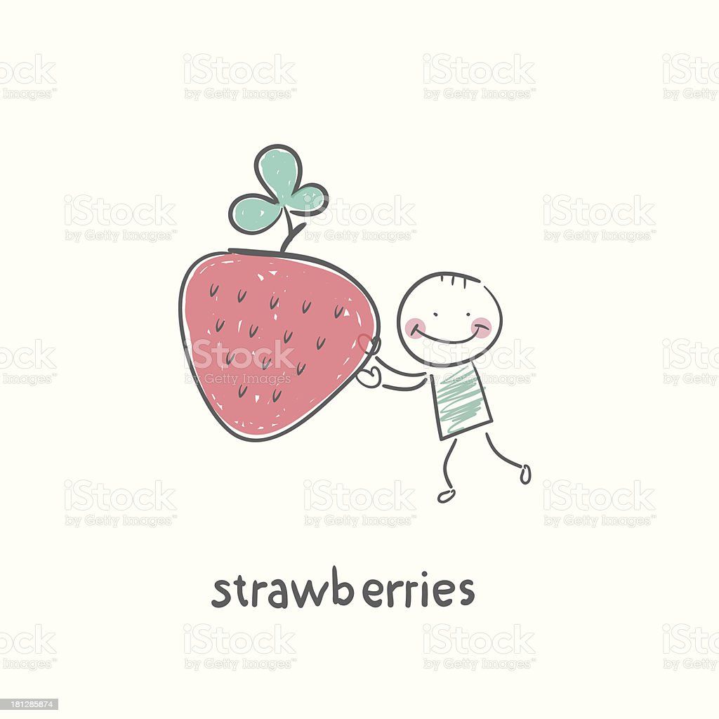 Man and strawberries vector art illustration