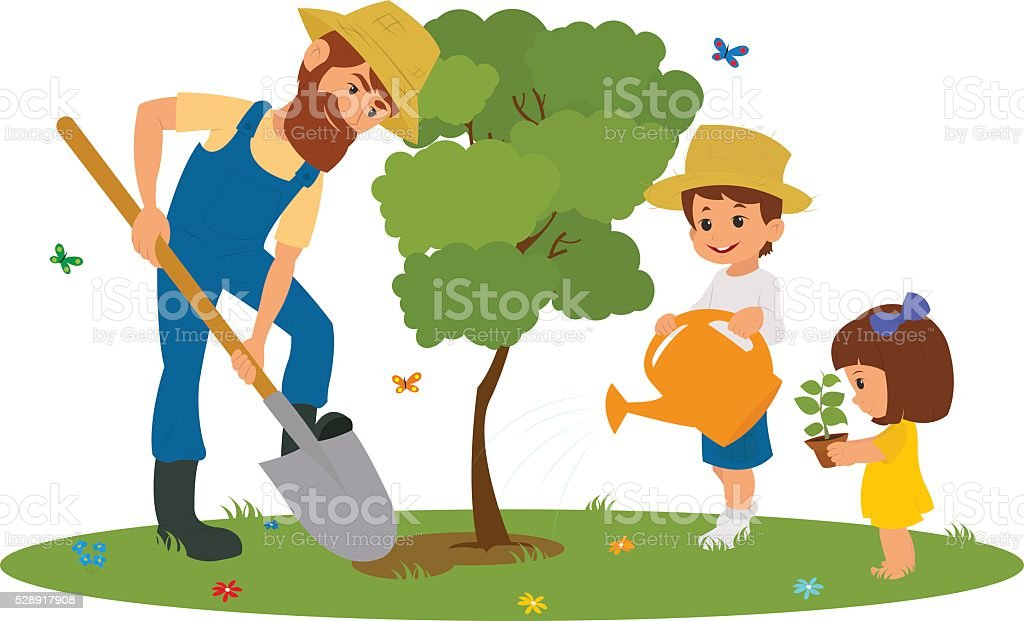 royalty free teenagers planting trees clip art vector images rh istockphoto com planting clipart images planting clipart
