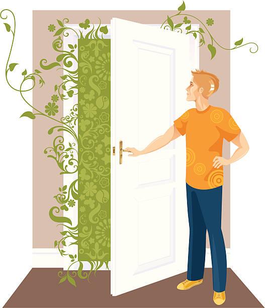 Człowiek i drzwi. – artystyczna grafika wektorowa