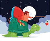 vector illustration of man riding on tortoise…