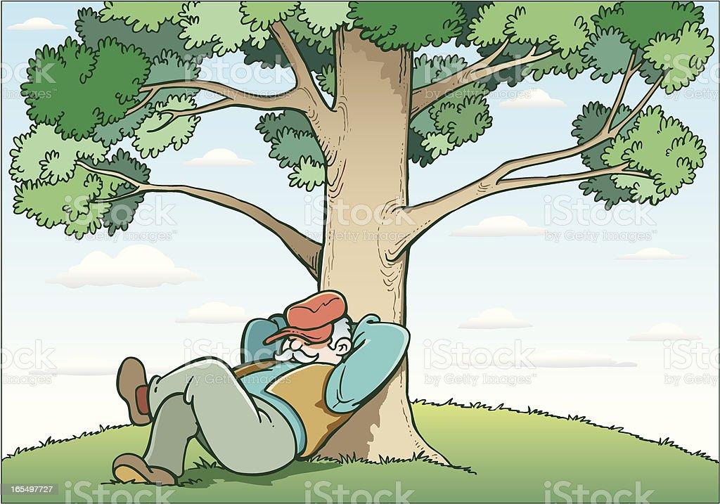 Man and tree vector art illustration