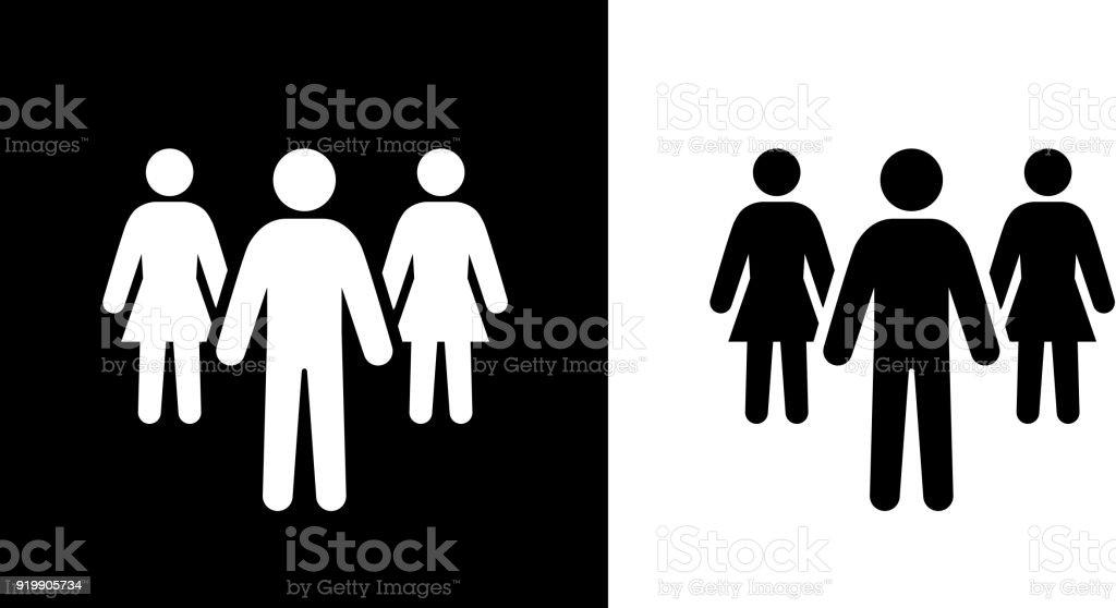 Homme et deux femmes travaillent dans l'équipe. - Illustration vectorielle