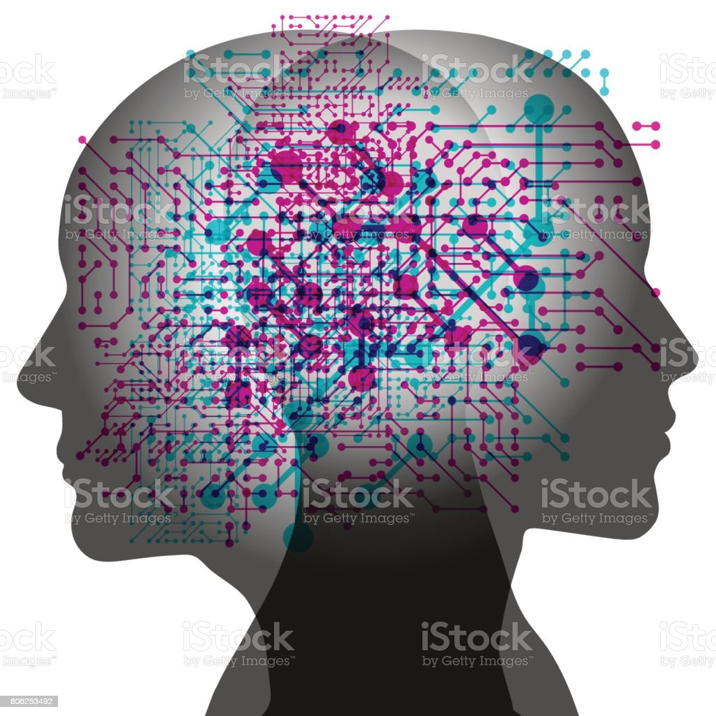 Man and Woman AI thoughts vector art illustration