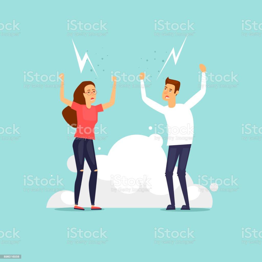 Mann und Frau streiten. Flaches Design-Vektor-Illustration. – Vektorgrafik