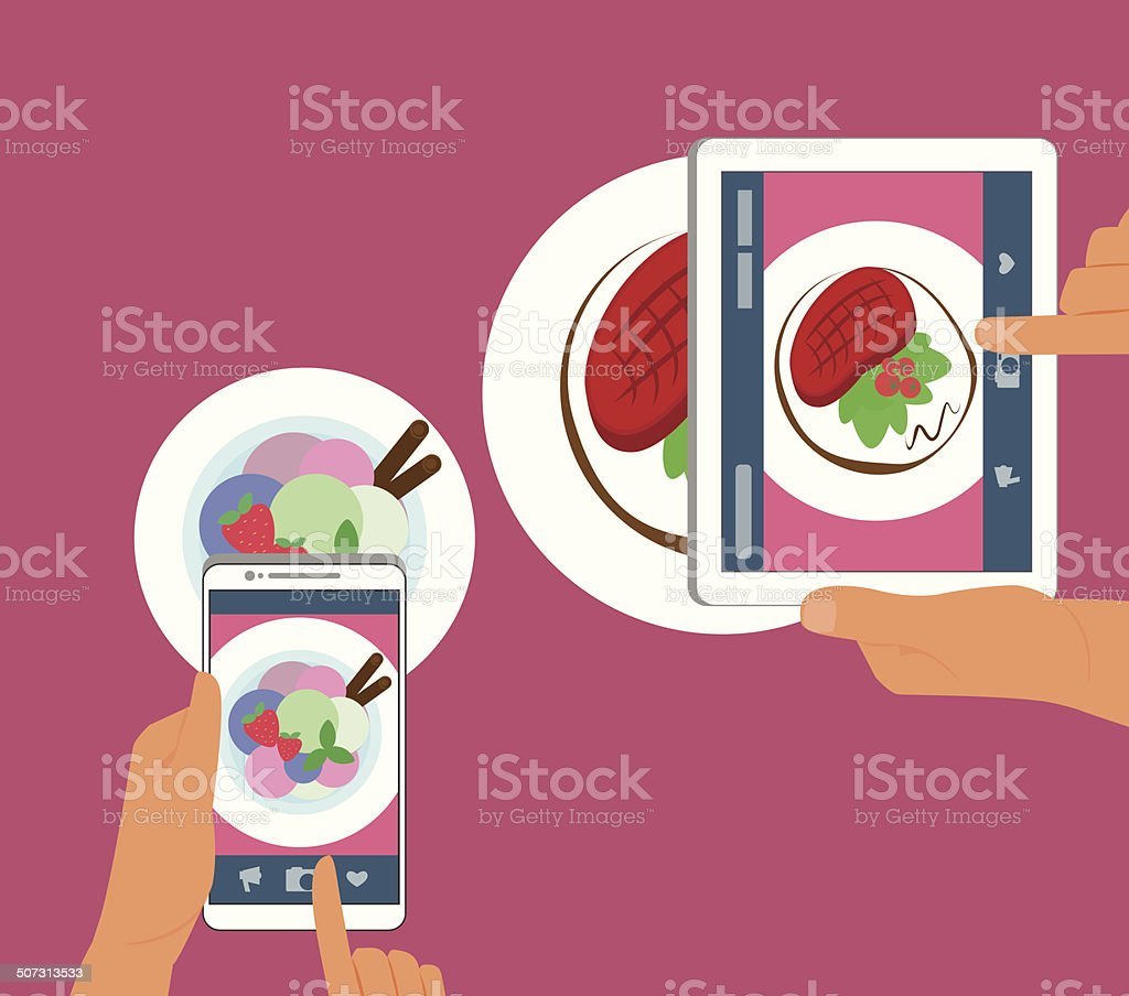 Man and woman are photographing their food in restaurant vector art illustration