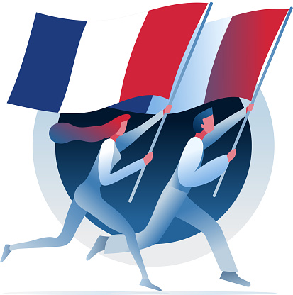 Man and woman are running with French flags.
