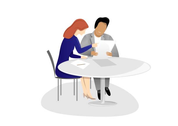 bildbanksillustrationer, clip art samt tecknat material och ikoner med man och kvinna sitter vid bordet och pratar om ett arbetsutkast, isolerad på en vit bakgrund horisontell vektor illustration - två människor