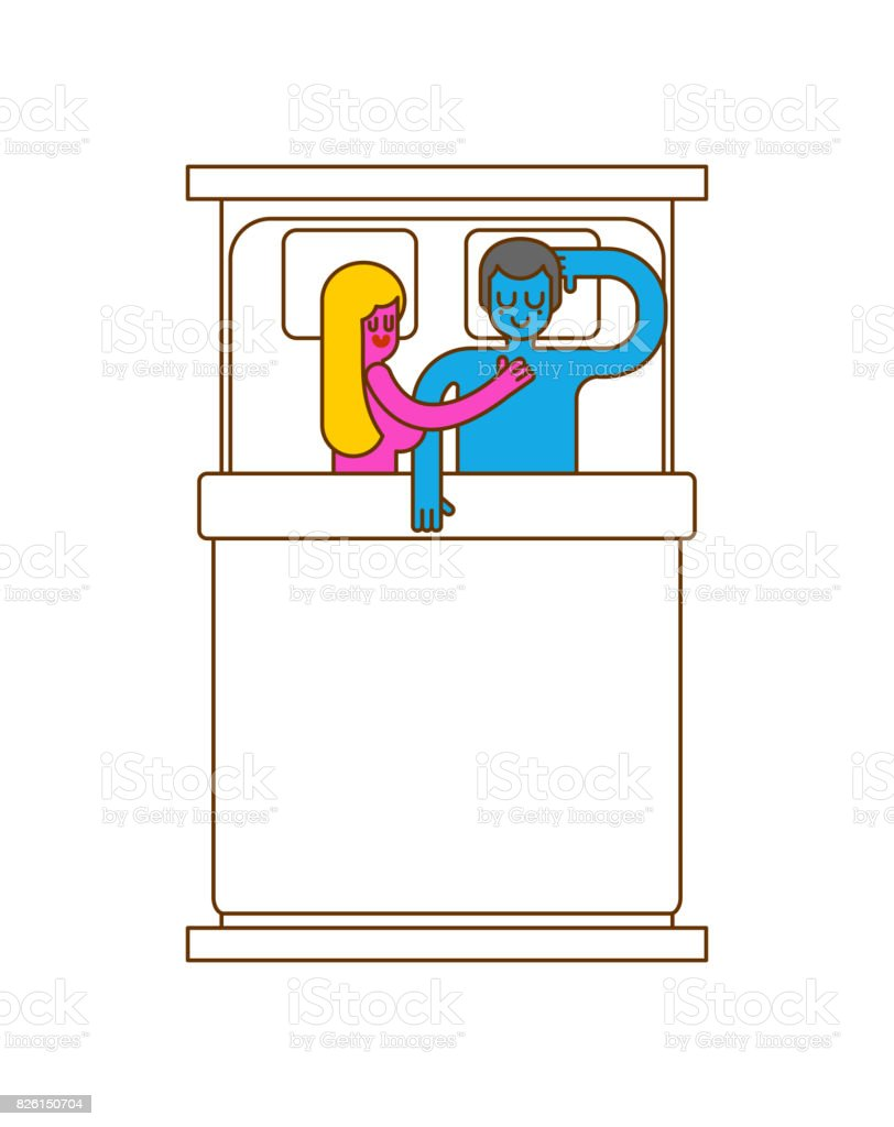 man and woman are sleeping in bed. Lovers embrace. couple is asleep. Love in bed vector art illustration