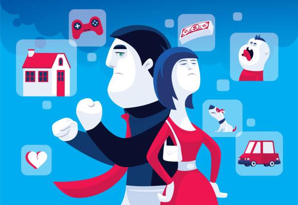 stockillustraties, clipart, cartoons en iconen met man en vrouw die debatteren - couple fighting home