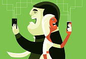 vector illustration of man and woman arguing via smartphone