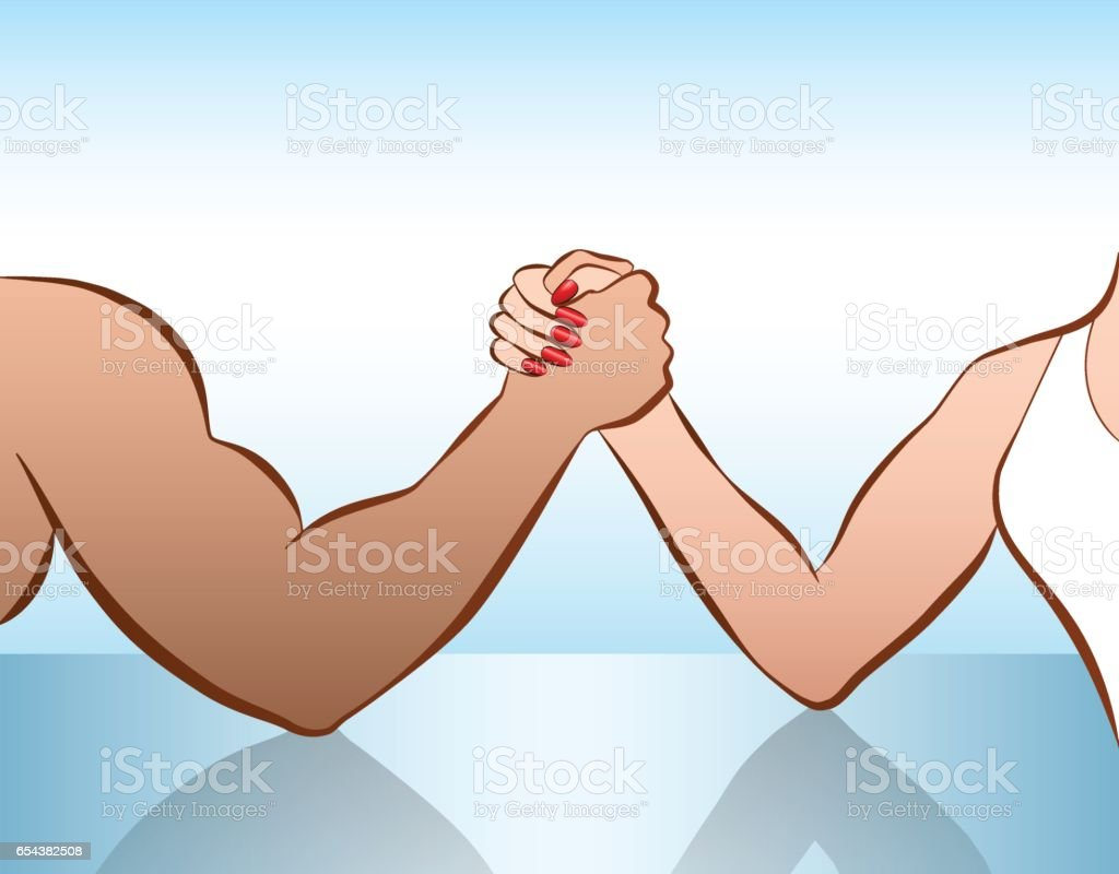 Man and woman arm wrestling of as a symbol for battle of the sexes or gender fight. Isolated vector illustration on white background. vector art illustration