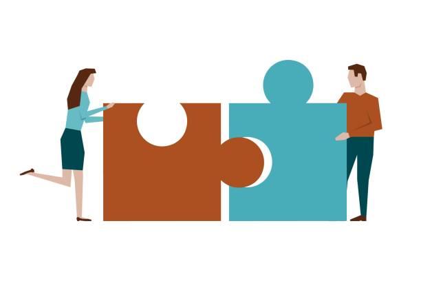 男人和女人在白色背景上組裝拼圖向量藝術插圖