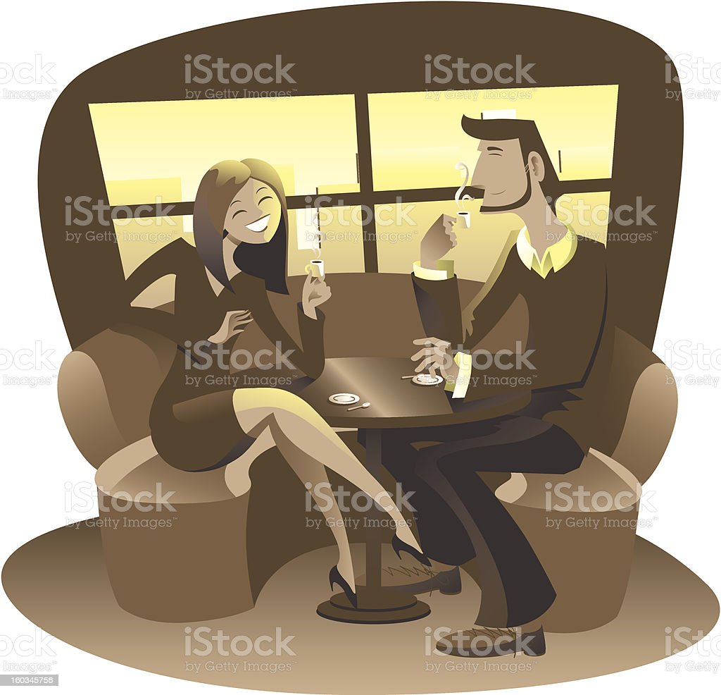 Man and woman at Cafè drinkin coffee