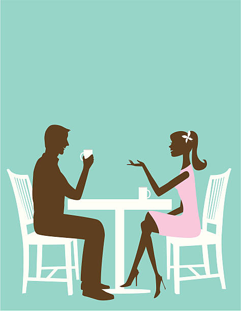 Man and Woman at the table vector art illustration