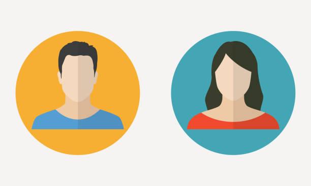 フラットデザインの男女のアバタープロフィール。男性と女性の顔のアイコン。ベクトルイラスト。 - 家族写真点のイラスト素材/クリップアート素材/マンガ素材/アイコン素材