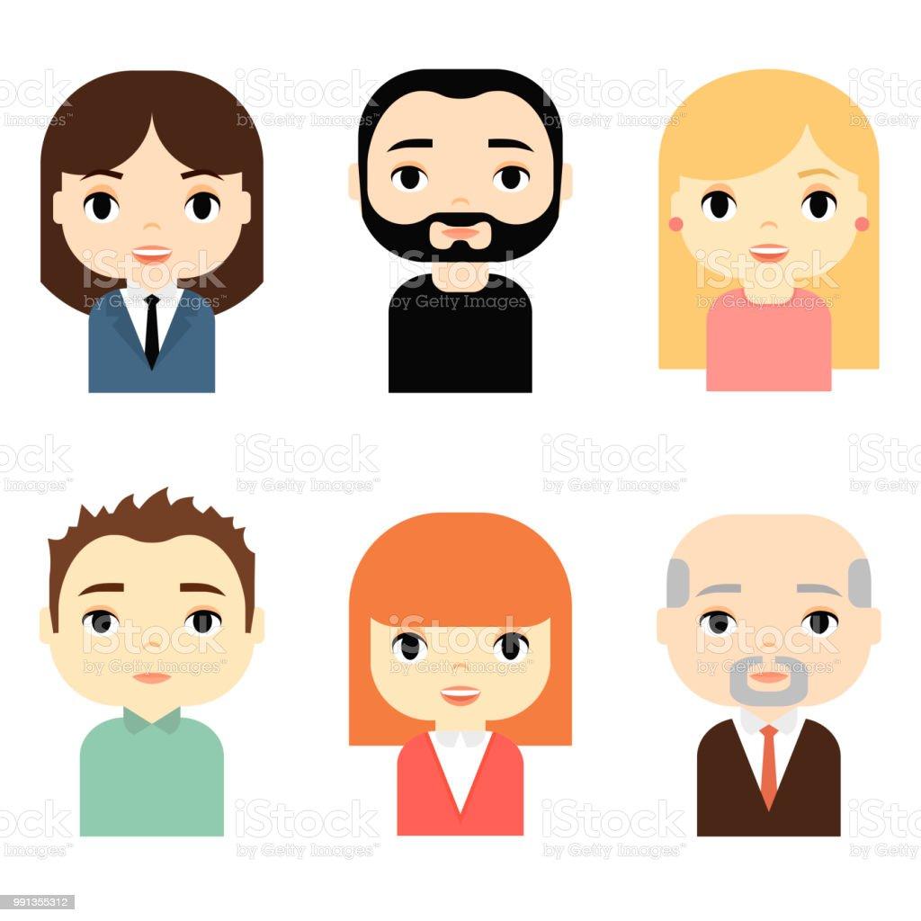 Ilustración De Hombre Y Mujer Avatares Con Caras