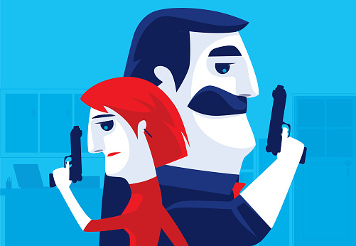man and woman back to back with guns