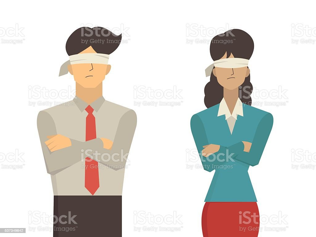 man and woman blindfolded vector art illustration