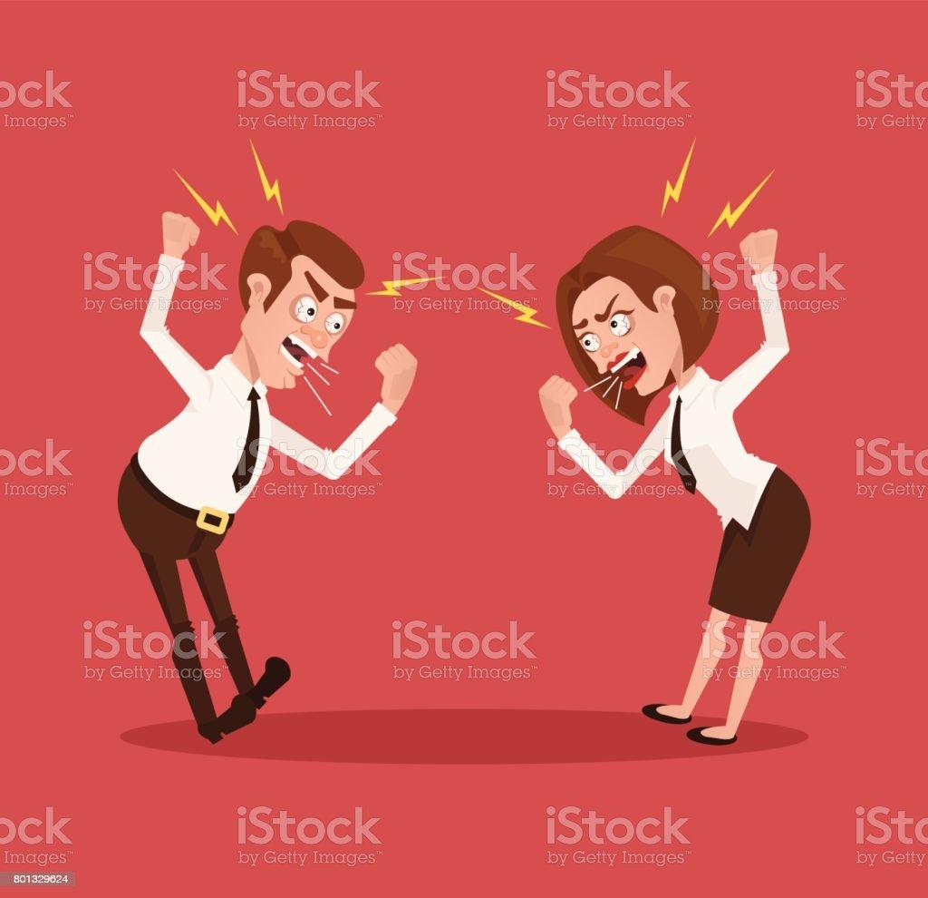 Homem e mulher negócios escritório trabalhadores personagens brigando - ilustração de arte em vetor