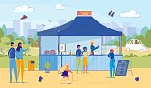 Cartoon Man and Woman Buy Fastfood from Vendor in Street Food Stand. Tent with Menu in Park. Adult and Children at Summer Food Festival Vector Illustration. People Eat Outdoor at Local Market Event