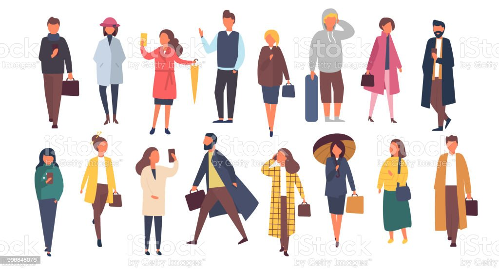 Man and woman characters in autumn outwear clothes. Crowd of cartoon people outside on the streets. Vector flat illustration royalty-free man and woman characters in autumn outwear clothes crowd of cartoon people outside on the streets vector flat illustration stock illustration - download image now