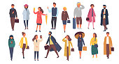 Man and woman characters in autumn outwear clothes. Crowd of cartoon people outside on the streets. Vector flat illustration.