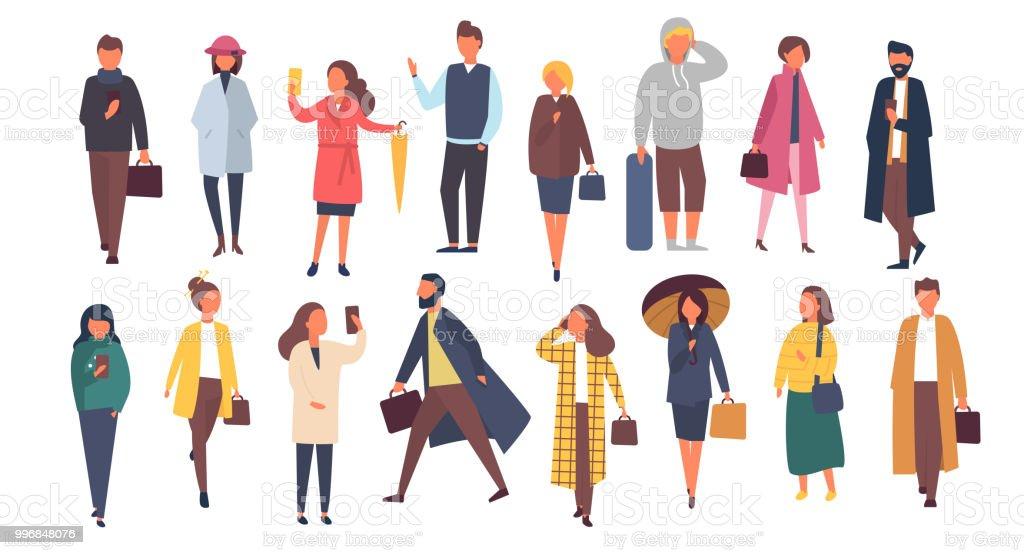 Personagens de homem e mulher no outono outwear roupas. Multidão de pessoas dos desenhos animados lá fora nas ruas. Ilustração em vetor plana - ilustração de arte em vetor
