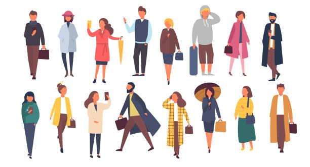 bildbanksillustrationer, clip art samt tecknat material och ikoner med man och kvinna tecken under hösten ytterkläder kläder. mängden av cartoon människor utanför på gatorna. flat vektorillustration - fritidskläder