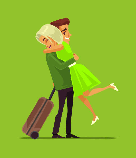 Man and woman characters meeting aster long separation business trip. Family lovers vector cartoon illustration Man and woman characters meeting aster long separation business trip. Family lovers vector cartoon boyfriend stock illustrations