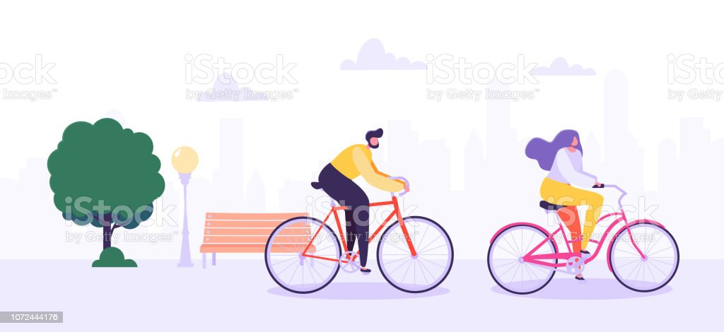Man and Woman Characters Riding Bicycle in the City Background. Active People Enjoying Bike Ride in the Park. Healthy Lifestyle, Eco Transportation. Vector Illustration - Royalty-free Adolescente arte vetorial