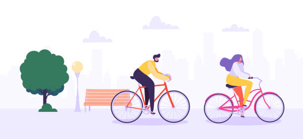 ilustraciones, imágenes clip art, dibujos animados e iconos de stock de hombre y mujer personajes montando bicicleta en el fondo de la ciudad. personas activas disfrutando de bicicleta de paseo en el parque. estilo de vida saludable, respetuoso del medio de transporte. ilustración de vector - andar en bicicleta