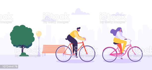 Man And Woman Characters Riding Bicycle In The City Background Active People Enjoying Bike Ride In The Park Healthy Lifestyle Eco Transportation Vector Illustration - Arte vetorial de stock e mais imagens de Adolescente