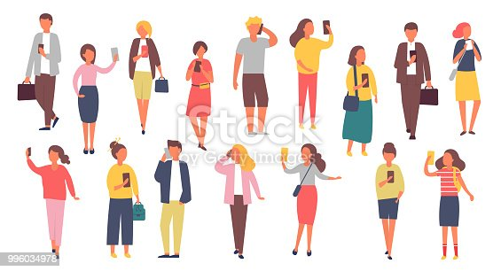 Man and woman characters with mobile phones. Crowd of people holding smartphones. Vector illustration.