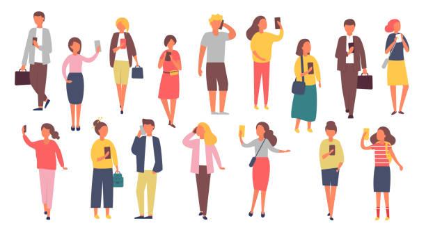 mann und frau zeichen mit mobiltelefonen. masse von menschen halten smartphones. vektor-illustration - selfie stock-grafiken, -clipart, -cartoons und -symbole