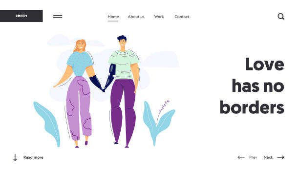 男人和女人的性格與假體。快樂的一對假體概念。醫療援助殘疾人生活。向量平的動畫片例證 - 健康科技 幅插畫檔、美工圖案、卡通及圖標