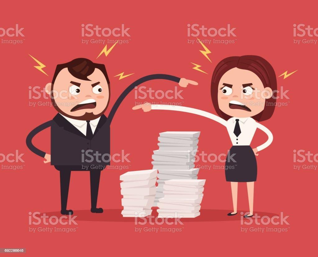 Homem e mulher colegas escritório trabalhadores personagens brigando. Trabalho em equipe ruim - ilustração de arte em vetor