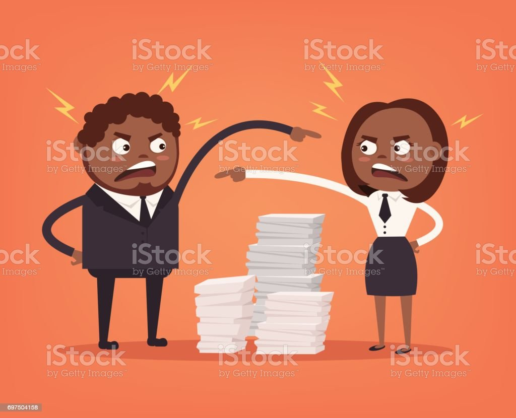 Man and woman colleagues office workers characters quarreling. Bad teamwork. Hard work