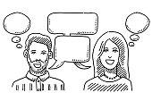 Man And Woman Communication Speech Bubbles Drawing