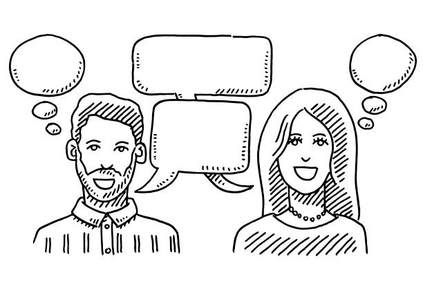 Man And Woman Communication Speech Bubbles Drawing Hand-drawn vector drawing of a Man And Woman Communication Concept with Speech Bubbles. Black-and-White sketch on a transparent background (.eps-file). Included files are EPS (v10) and Hi-Res JPG. women stock illustrations