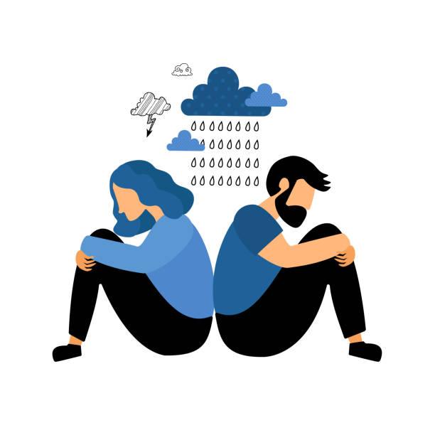 illustrazioni stock, clip art, cartoni animati e icone di tendenza di man and woman conflict - divorzio
