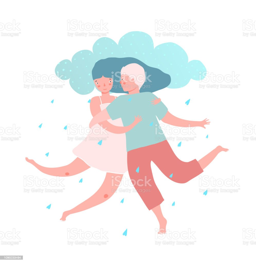 Man And Woman Couple With Love Rain Stock Illustration Download