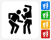 Man and Woman Dancing Icon. This 100% royalty free vector illustration features the main icon pictured in black inside a white square. The alternative color options in blue, green, yellow and red are on the right of the icon and are arranged in a vertical column.