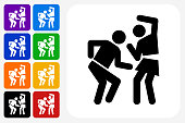 Man and Woman Dancing Icon Square Button Set