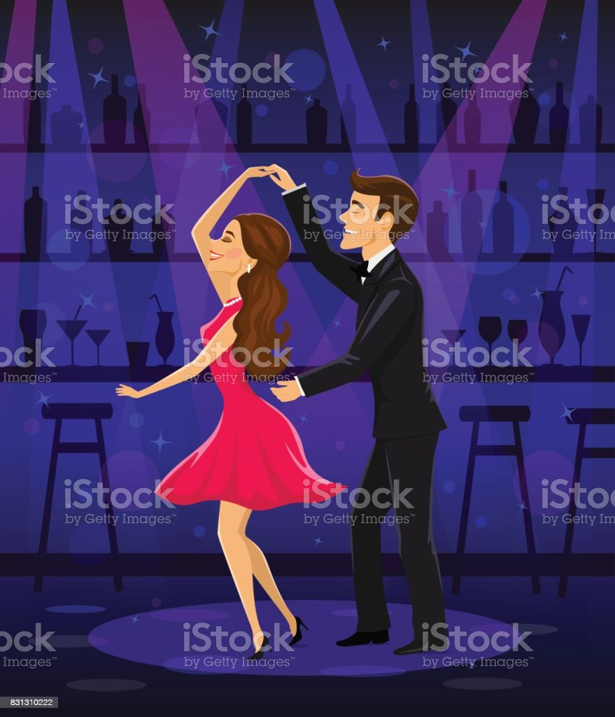 Man and woman dancing in disco bar night club under spotlight vector art illustration