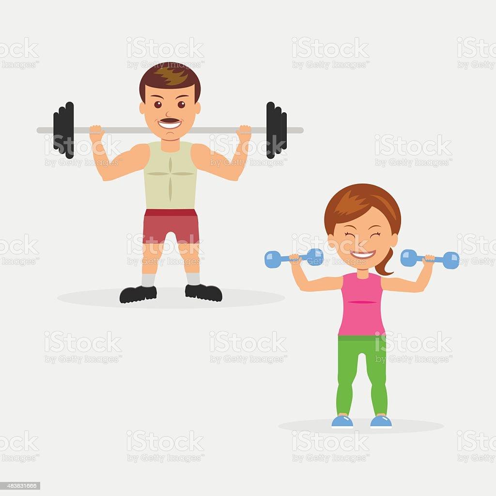 ilustración de hombre y mujer haciendo ejercicios con pesas y barra