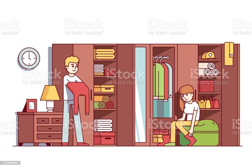 Mann und Frau putzt sich im Hause Garderobe – Vektorgrafik