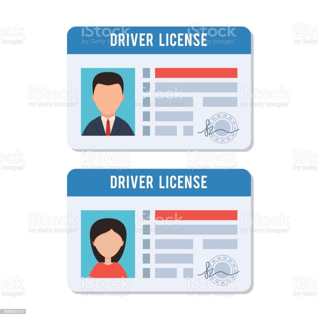 Licencia de conducir de hombre y mujer - ilustración de arte vectorial