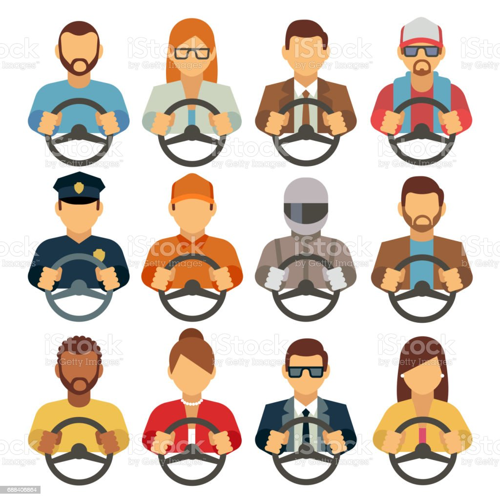 Man and woman drivers vector flat icons vector art illustration